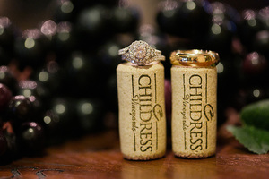 wedding rings on corks