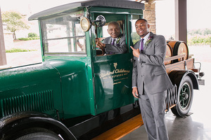 groom and grandfather in old truck