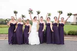 bridesmaids holding bouquets up
