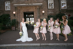 bridal party at historic rice mill in charleston, sc