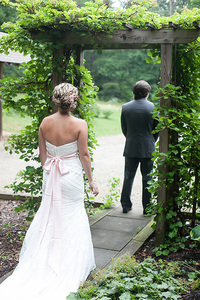 bride and groom wedding day first look