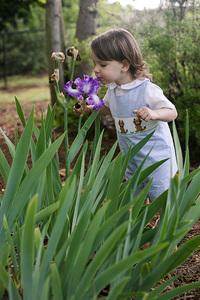 boy smelling iris