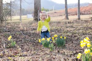 baby girl in daffodil flowers