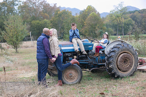 family picture on tractor