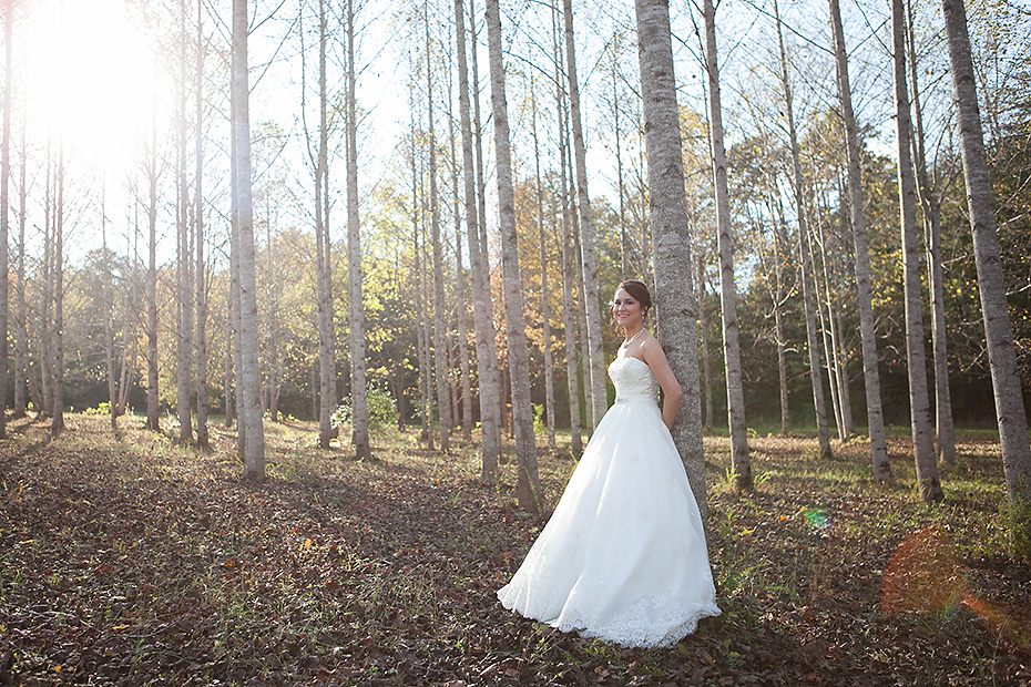 bride in grove of trees