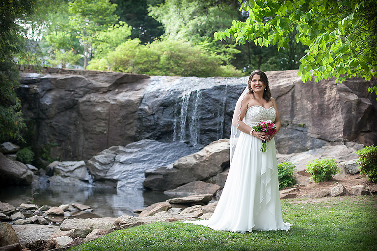 bride and waterfall